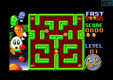 In-game screen of the game Fast Food Dizzy on Amstrad CPC
