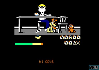 In-game screen of the game Garfield - Big Fat Hairy Deal on Amstrad CPC