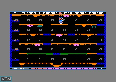 In-game screen of the game Jet Boot Jack on Amstrad CPC