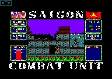 In-game screen of the game Saigon Combat Unit on Amstrad CPC