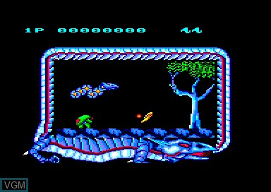 In-game screen of the game Saint Dragon on Amstrad CPC