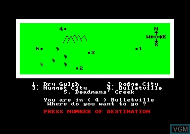 In-game screen of the game Wild Bunch, The on Amstrad CPC