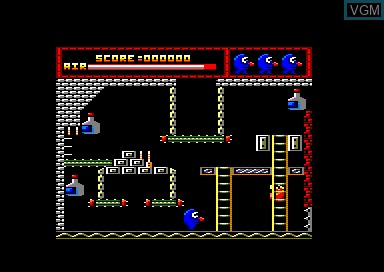 In-game screen of the game Willy Wino's Stag Night on Amstrad CPC