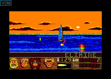 In-game screen of the game Windsurf Willy on Amstrad CPC