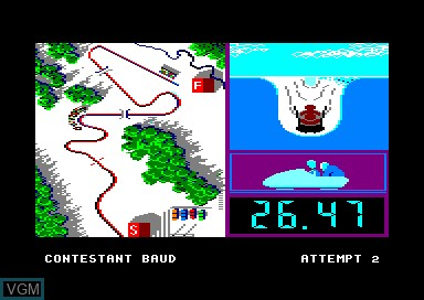 In-game screen of the game Winter Games on Amstrad CPC
