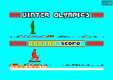 In-game screen of the game Winter Olympics on Amstrad CPC