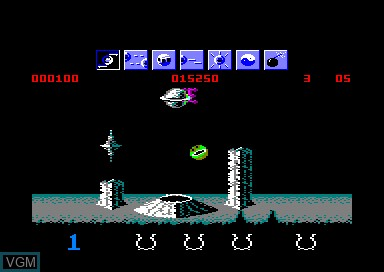 In-game screen of the game Wizball on Amstrad CPC