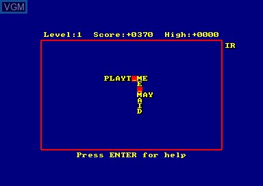 In-game screen of the game Xanagrams on Amstrad CPC
