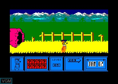In-game screen of the game Yogi Bear on Amstrad CPC
