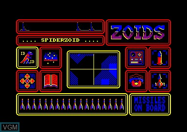In-game screen of the game Zoids on Amstrad CPC