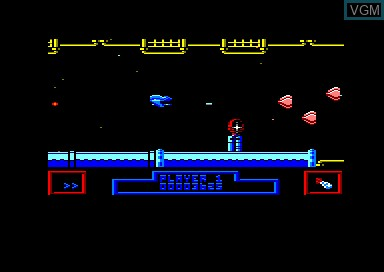 In-game screen of the game Zynaps on Amstrad CPC