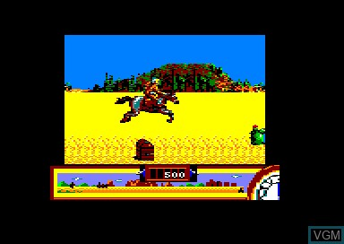 In-game screen of the game Back to the Future 3 on Amstrad CPC