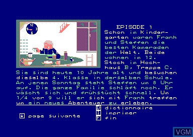 In-game screen of the game Balade a Cologne on Amstrad CPC