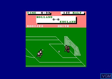 In-game screen of the game Emlyn Huges' International Soccer on Amstrad CPC