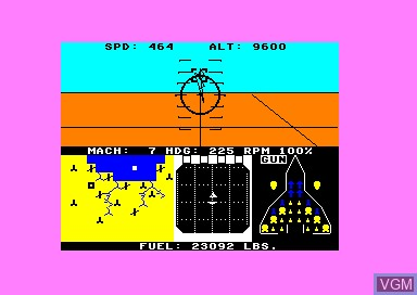In-game screen of the game F-15 Strike Eagle on Amstrad CPC