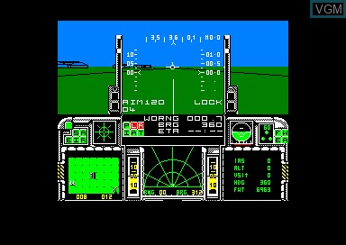 In-game screen of the game F-16 Combat Pilot on Amstrad CPC