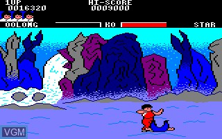 In-game screen of the game Yie Ar Kung Fu on Amstrad CPC