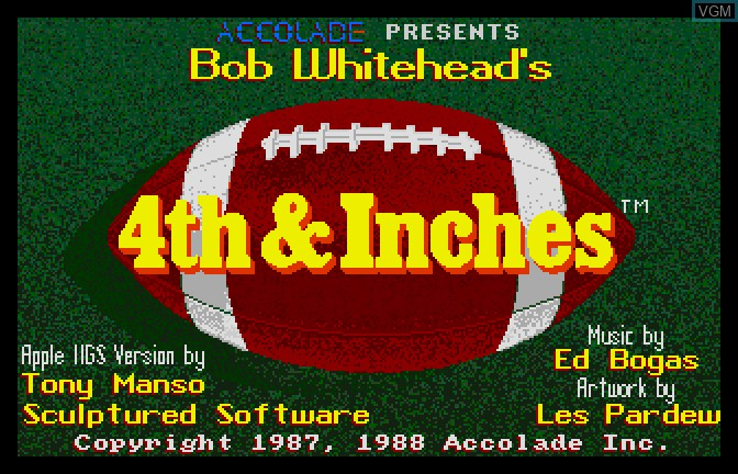 Title screen of the game 4th & Inches on Apple II GS