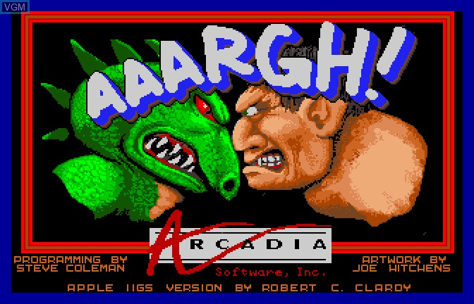 Title screen of the game Aaargh! on Apple II GS