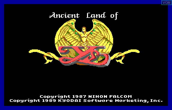 Title screen of the game Ancient Land of Ys on Apple II GS