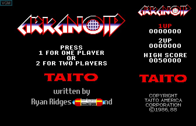 Title screen of the game Arkanoid on Apple II GS