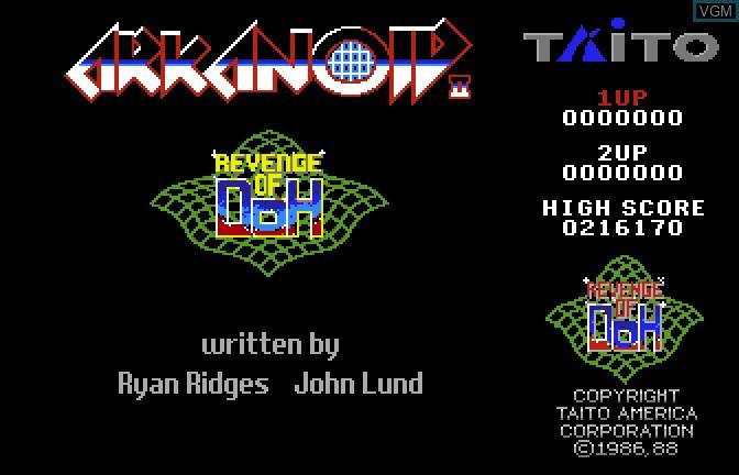 Title screen of the game Arkanoid II - Revenge of Doh on Apple II GS