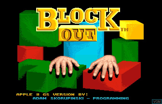 Title screen of the game Block Out on Apple II GS