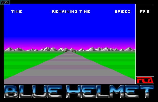 Title screen of the game Blue Helmet on Apple II GS