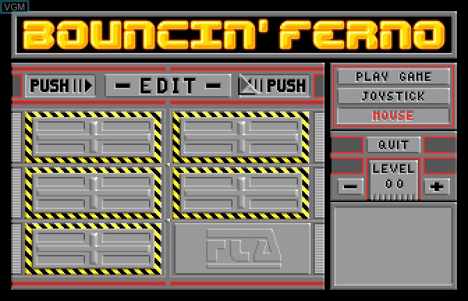 Title screen of the game Bouncin' Ferno on Apple II GS