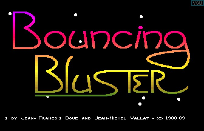 Title screen of the game Bouncing Bluster on Apple II GS