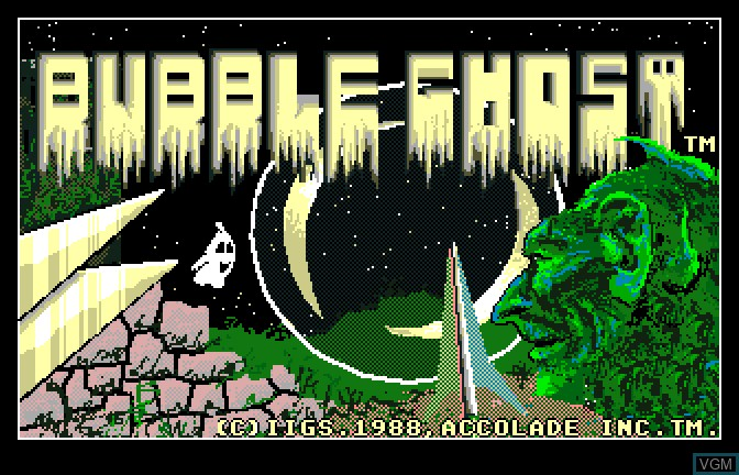 Title screen of the game Bubble Ghost on Apple II GS