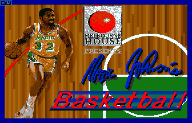 Title screen of the game Magic Johnson's Basketball on Apple II GS