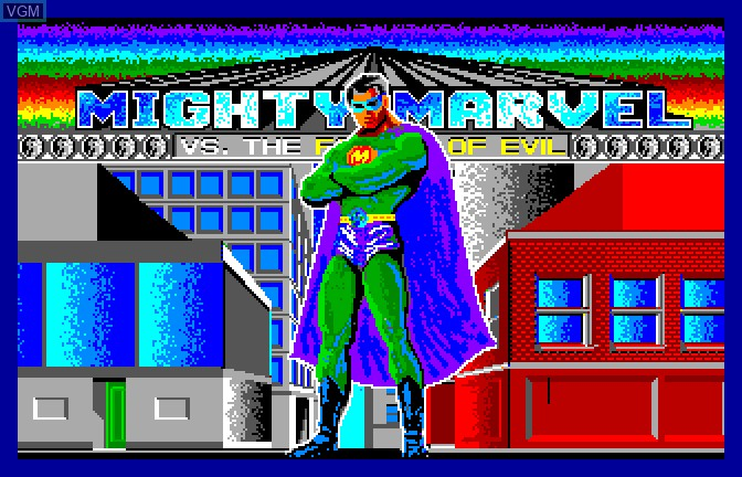 Title screen of the game Mighty Marvel Vs The Forces of Evil on Apple II GS