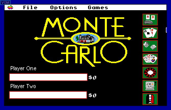 Title screen of the game Monte Carlo on Apple II GS