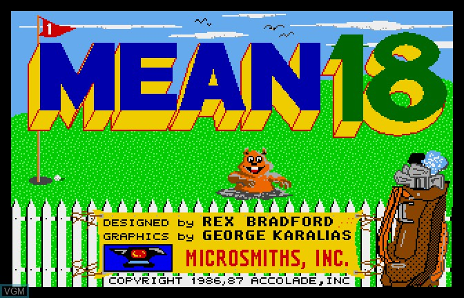 Title screen of the game Mean 18 on Apple II GS