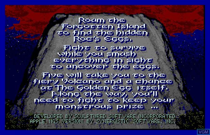 Menu screen of the game Aaargh! on Apple II GS