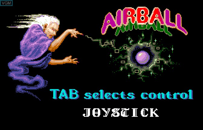 Menu screen of the game Airball on Apple II GS