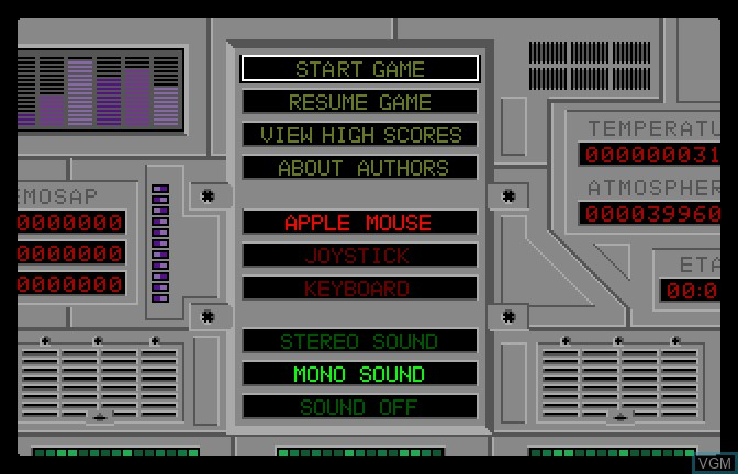 Menu screen of the game Alien Mind on Apple II GS