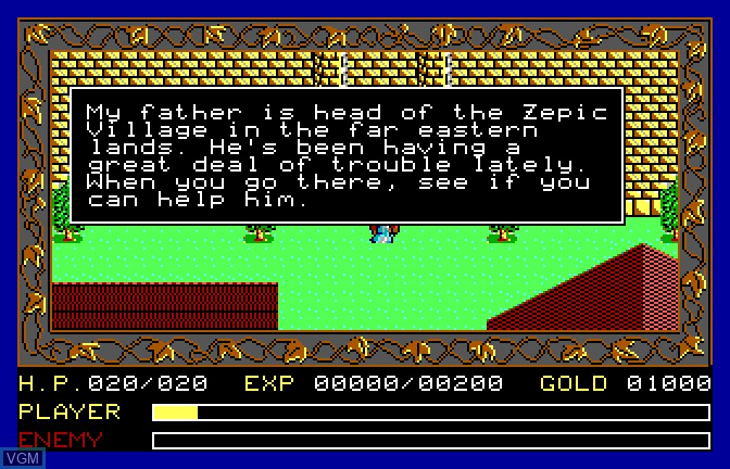 Menu screen of the game Ancient Land of Ys on Apple II GS