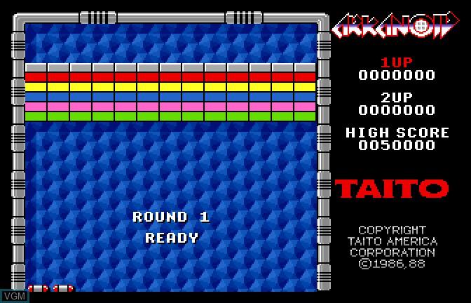 Menu screen of the game Arkanoid on Apple II GS