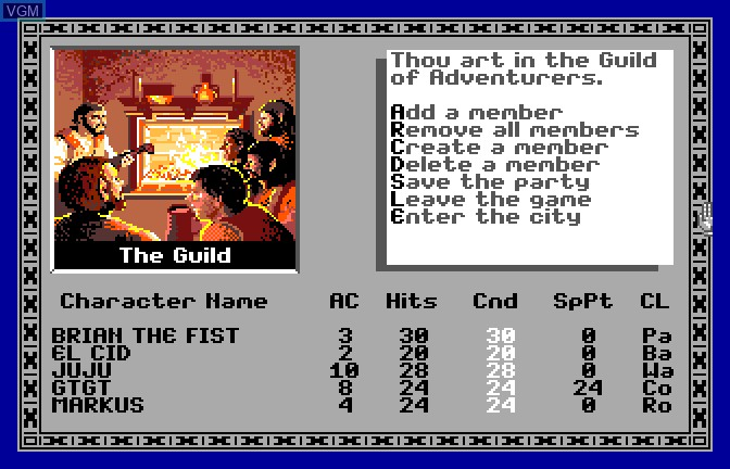 Menu screen of the game Bard's Tale - Tales of the Unknown, The on Apple II GS