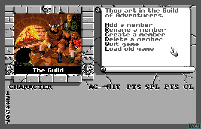 Menu screen of the game Bard's Tale II - The Destiny Knight, The on Apple II GS