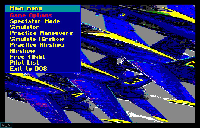 Menu screen of the game Blue Angels on Apple II GS