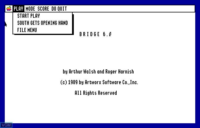 Menu screen of the game Bridge 6.0 - Your Bid For Entertainment on Apple II GS