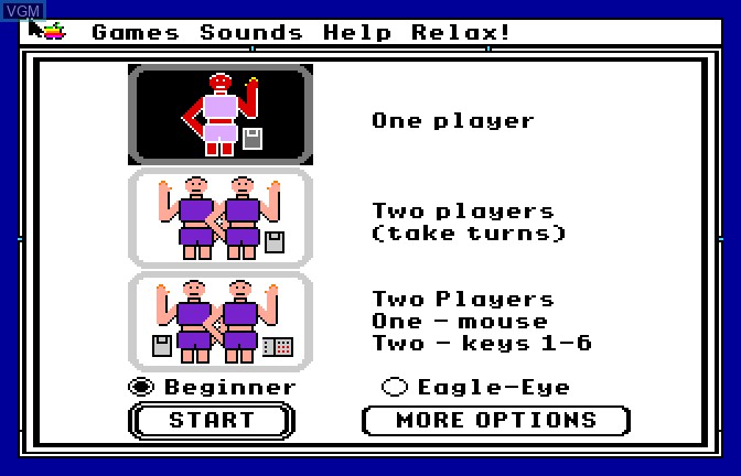 Menu screen of the game Mad Match on Apple II GS