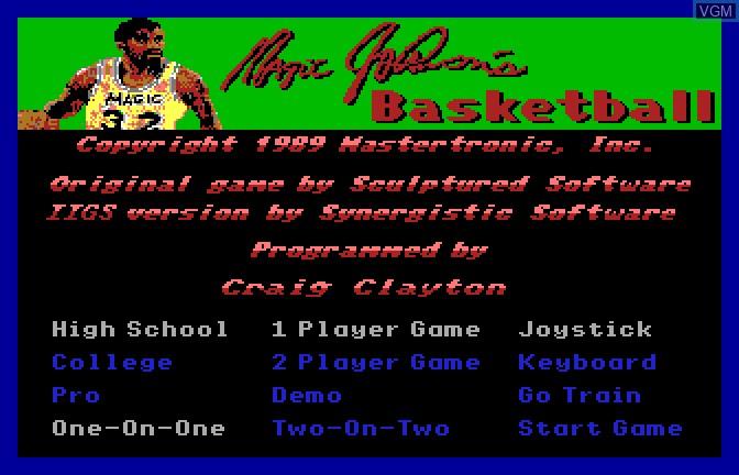 Menu screen of the game Magic Johnson's Basketball on Apple II GS