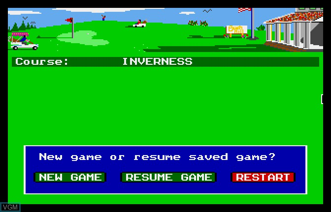 Menu screen of the game Mean 18 - Famous Courses Volume 2 on Apple II GS