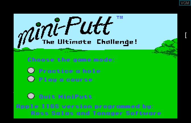 Menu screen of the game Mini Putt - The Ultimate Challenge on Apple II GS