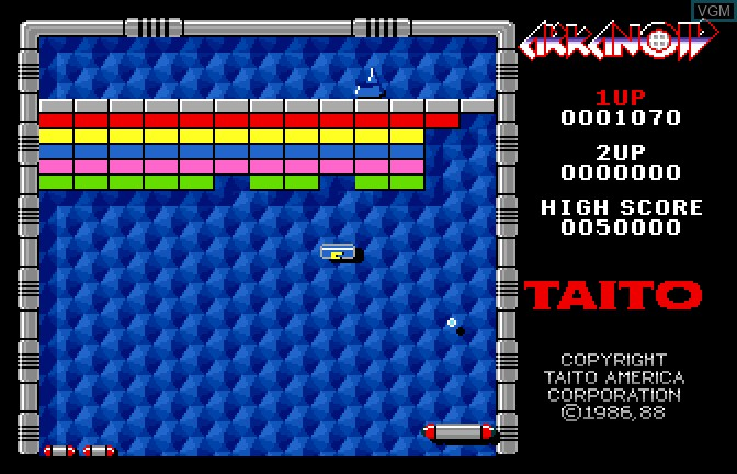 In-game screen of the game Arkanoid on Apple II GS