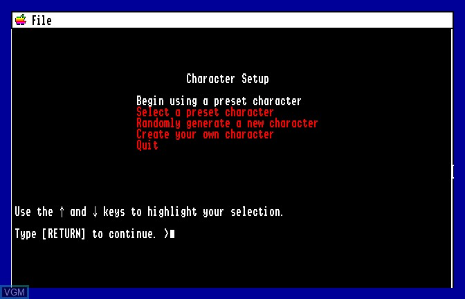In-game screen of the game Beyond Zork on Apple II GS